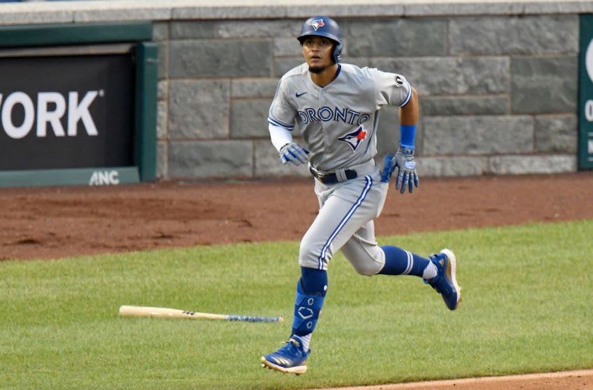 WASHINGTON, DC - JULY 28: Santiago Espinal #5 of the Toronto Blue Jays runs the bases against the Washington Nationals at Nationals Park on July 28, 2020 in Washington, DC. (Photo by G Fiume/Getty Images)