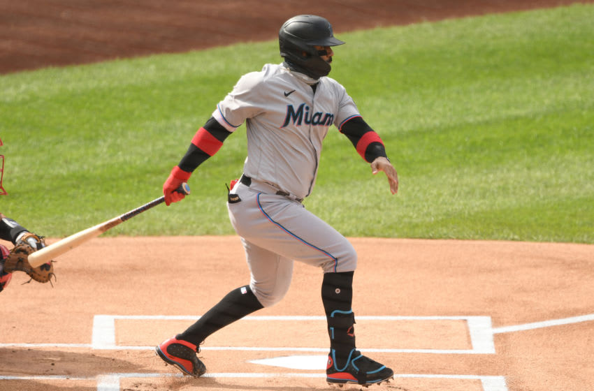 WASHINGTON, DC - AUGUST 22: Jonathan Villar #2 of the Miami Marlins takes a swing during game one of a doubleheader baseball game against the Washington Nationals at Nationals Park on August 22, 2020 in Washington, DC. (Photo by Mitchell Layton/Getty Images)