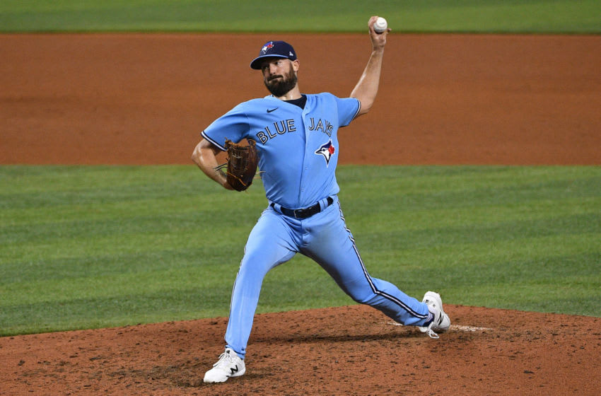 MIAMI, FLORIDA - SEPTEMBER 01: Robbie Ray #38 of the Toronto Blue Jays delivers a pitch in the sixth inning against the Miami Marlins at Marlins Park on September 01, 2020 in Miami, Florida. (Photo by Mark Brown/Getty Images)