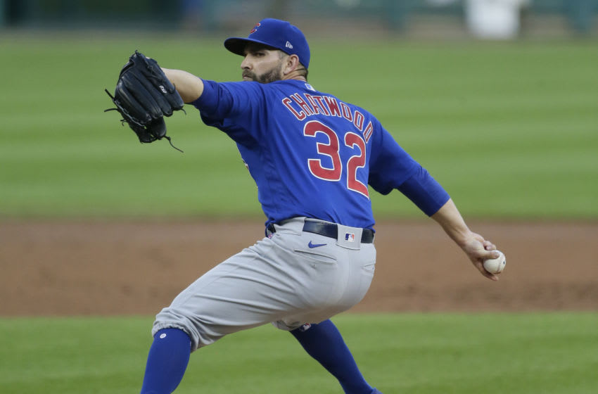 DETROIT, MI - AUGUST 25: Tyler Chatwood #32 of the Chicago Cubs pitches against the Detroit Tigers at Comerica Park on August 25, 2020, in Detroit, Michigan. (Photo by Duane Burleson/Getty Images)