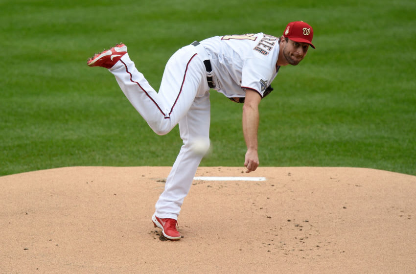 WASHINGTON, DC - SEPTEMBER 26: Max Scherzer #31 of the Washington Nationals pitches against the New York Mets during game 1 of a double header at Nationals Park on September 26, 2020 in Washington, DC. (Photo by G Fiume/Getty Images)