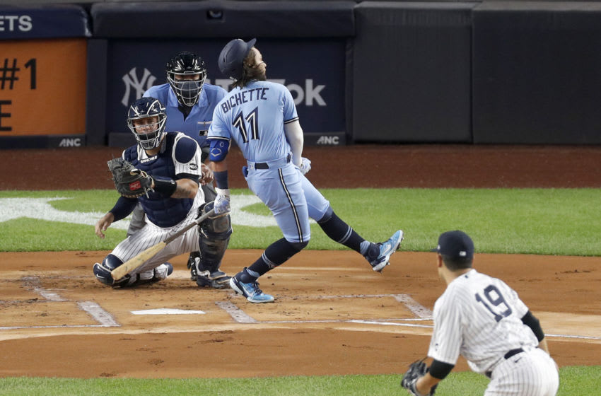 NEW YORK, NEW YORK - SEPTEMBER 17: (NEW YORK DAILIES OUT) Bo Bichette #11 of the Toronto Blue Jays strikes out against Masahiro Tanaka #19 of the New York Yankees at Yankee Stadium on September 17, 2020 in New York City. The Yankees defeated the Blue Jays 10-7. (Photo by Jim McIsaac/Getty Images)