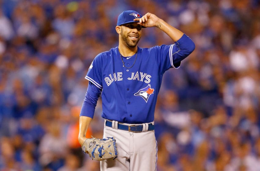 KANSAS CITY, MO - OCTOBER 23: David Price #14 of the Toronto Blue Jays reacts in the third inning while taking on the Kansas City Royals in game six of the 2015 MLB American League Championship Series at Kauffman Stadium on October 23, 2015 in Kansas City, Missouri. (Photo by Jamie Squire/Getty Images)