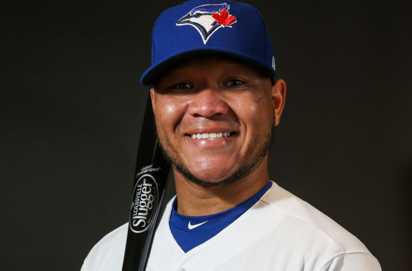 DUNEDIN, FL - FEBRUARY 21: Harold Ramirez #48 of the Toronto Blue Jays poses for a portait during a MLB photo day at Florida Auto Exchange Stadium on February 21, 2017 in Dunedin, Florida. (Photo by Mike Stobe/Getty Images)