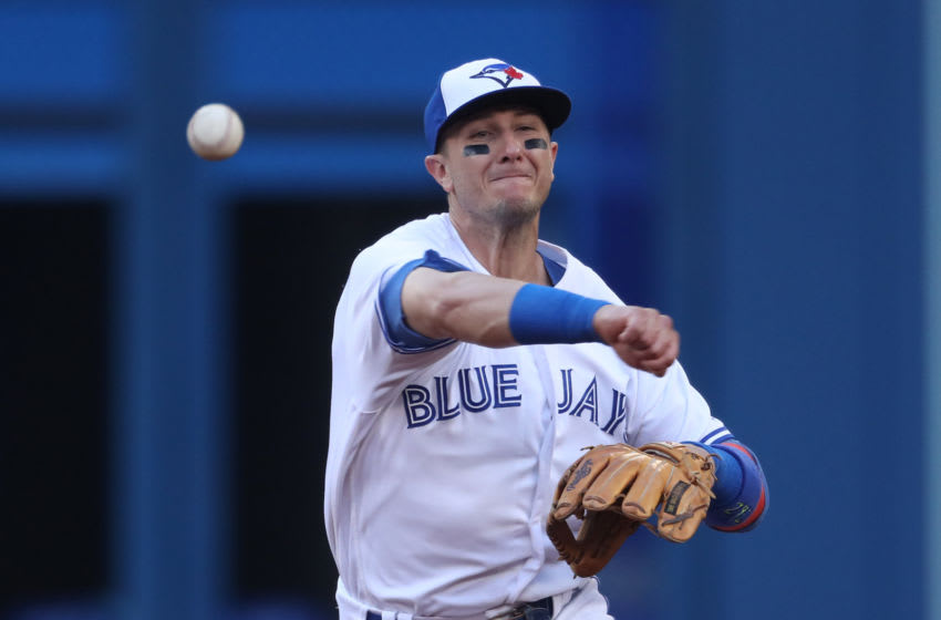 TORONTO, ON - JUNE 27: Troy Tulowitzki #2 of the Toronto Blue Jays throws out the baserunner in the third inning during MLB game action against the Baltimore Orioles at Rogers Centre on June 27, 2017 in Toronto, Canada. (Photo by Tom Szczerbowski/Getty Images)