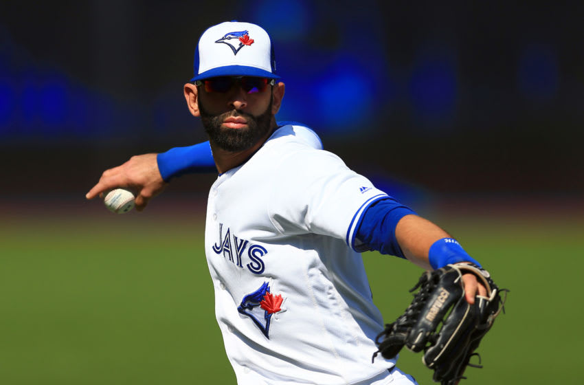 TORONTO, ON - SEPTEMBER 24: Jose Bautista #19 of the Toronto Blue Jays warms up prior to a game against the New York Yankees at Rogers Centre on September 24, 2017 in Toronto, Canada. (Photo by Vaughn Ridley/Getty Images)