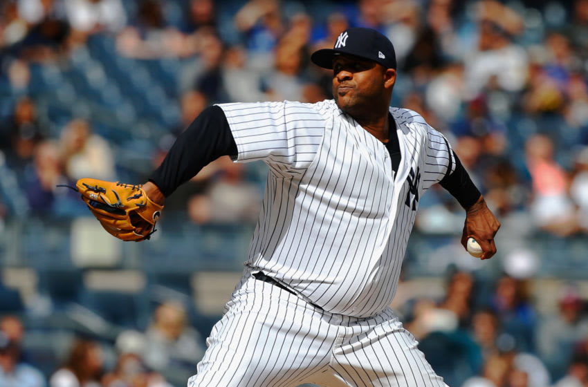 NEW YORK, NY - SEPTEMBER 30: CC Sabathia #52 of the New York Yankees in action against the Toronto Blue Jays at Yankee Stadium on September 30, 2017 in the Bronx borough of New York City. The Yankees defeated the Blue Jays 2-1. (Photo by Jim McIsaac/Getty Images)