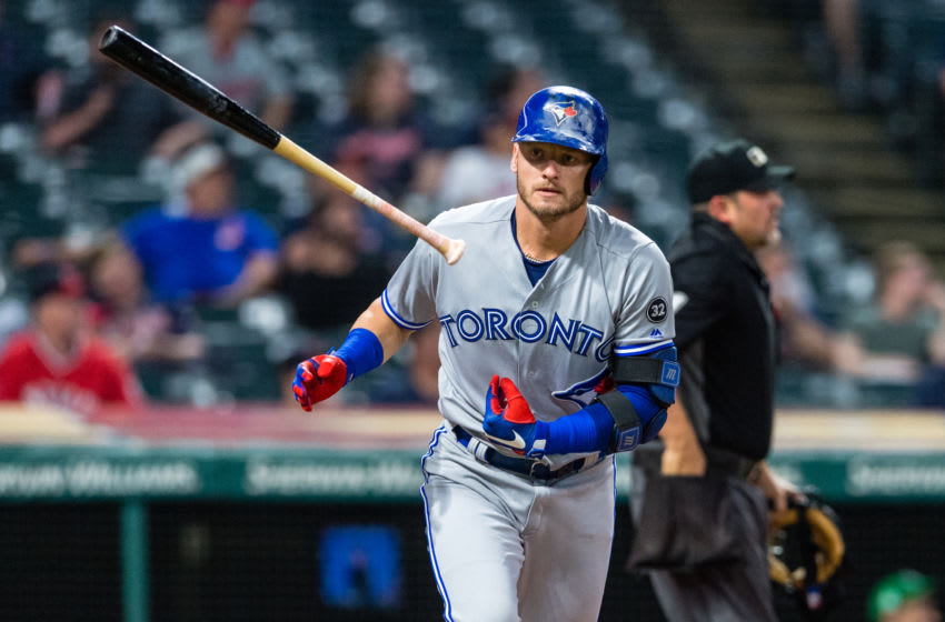 CLEVELAND, OH - MAY 3: Josh Donaldson #20 of the Toronto Blue Jays tosses his bat after hitting a solo home run during the fourth inning against the Cleveland Indians in game two of a doubleheader at Progressive Field on May 3, 2018 in Cleveland, Ohio. (Photo by Jason Miller/Getty Images)