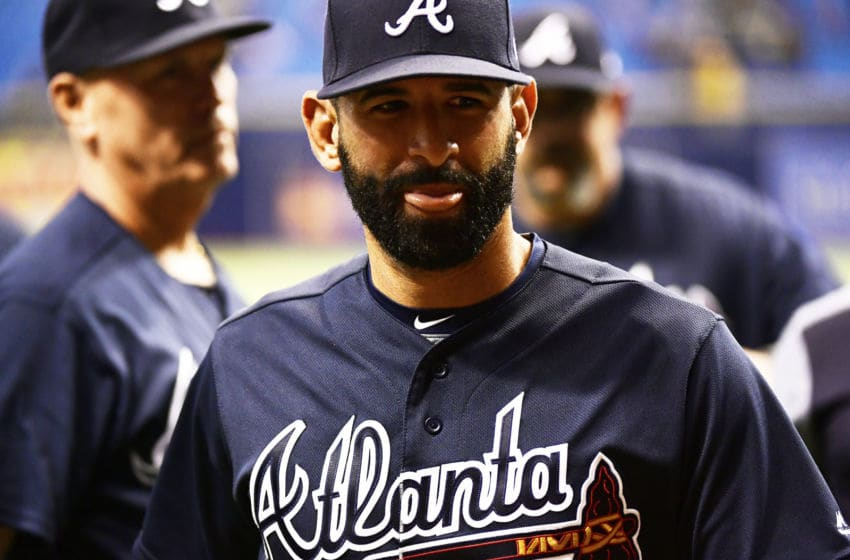 ST PETERSBURG, FL - MAY 8: Jose Bautista #23 of the Atlanta Braves celebrates after a victory over the Tampa Bay Rays on May 8, 2018 at Tropicana Field in St Petersburg, Florida. The Braves won 1-0. (Photo by Julio Aguilar/Getty Images)