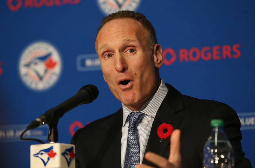 TORONTO, CANADA - NOVEMBER 2: Mark Shapiro speaks to the media as he is introduced as president of the Toronto Blue Jays during a press conference on November 2, 2015 at Rogers Centre in Toronto, Ontario, Canada. (Photo by Tom Szczerbowski/Getty Images)