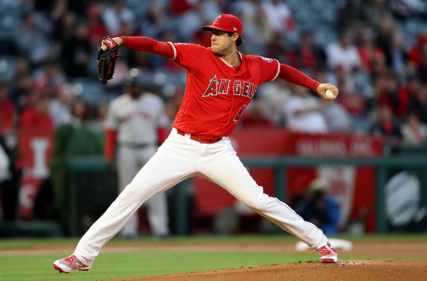 ANAHEIM, CA - APRIL 18: Tyler Skaggs #45 of the Los Angeles Angels of Anaheim pitches during the first inning of a game against the Boston Red Sox at Angel Stadium on April 18, 2018 in Anaheim, California. (Photo by Sean M. Haffey/Getty Images)