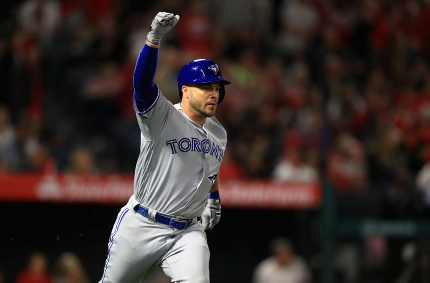 ANAHEIM, CA - JUNE 23: Steve Pearce #28 of the Toronto Blue Jays reacts after hitting a three-run homerun during the ninth inning of a game against the Los Angeles Angels of Anaheim at Angel Stadium on June 23, 2018 in Anaheim, California. (Photo by Sean M. Haffey/Getty Images)