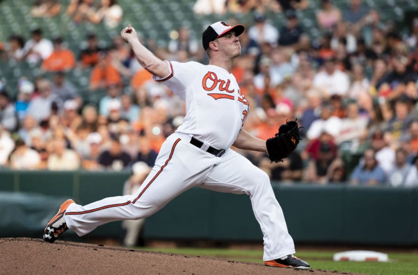 BALTIMORE, MD - JULY 11: Dylan Bundy #37 of the Baltimore Orioles pitches during the first inning against the New York Yankees at Oriole Park at Camden Yards on July 11, 2018 in Baltimore, Maryland. (Photo by Scott Taetsch/Getty Images)