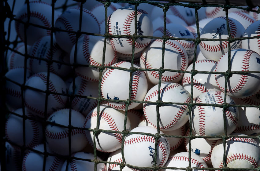 BALTIMORE, MD - AUGUST 02: A detailed view of Major League Baseballs prior to the game between the Baltimore Orioles and the Toronto Blue Jays at Oriole Park at Camden Yards on August 2, 2019 in Baltimore, Maryland. (Photo by Will Newton/Getty Images)