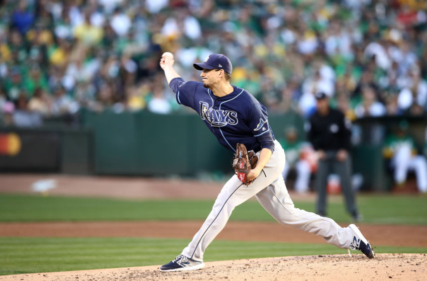 OAKLAND, CALIFORNIA - OCTOBER 02: Charlie Morton #50 of the Tampa Bay Rays throws a pitch against the Oakland Athletics during the American League Wild Card Game at RingCentral Coliseum on October 02, 2019 in Oakland, California. (Photo by Ezra Shaw/Getty Images)