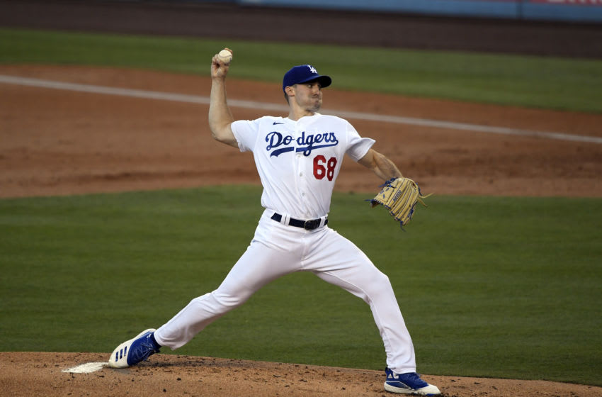 LOS ANGELES, CA - AUGUST 11: Starting pitcher Ross Stripling #68 of the Los Angeles Dodgers throws a pitch against the San Diego Padres during the second inning at Dodger Stadium on August 11, 2020 in Los Angeles, California. (Photo by Kevork Djansezian/Getty Images)