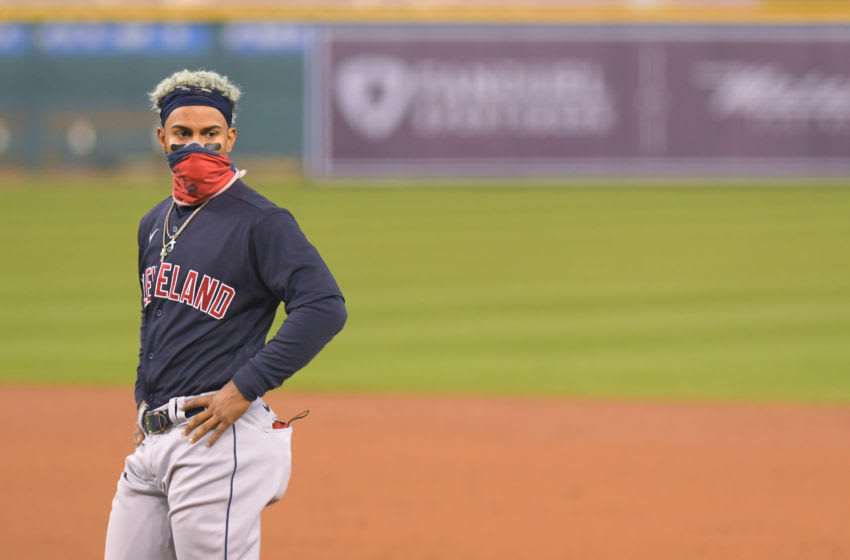 DETROIT, MI - SEPTEMBER 17: Francisco Lindor #12 of the Cleveland Indians looks on while wearing a face mask during the game against the Detroit Tigers at Comerica Park on September 17, 2020 in Detroit, Michigan. The Indians defeated the Tigers 10-3. (Photo by Mark Cunningham/MLB Photos via Getty Images)