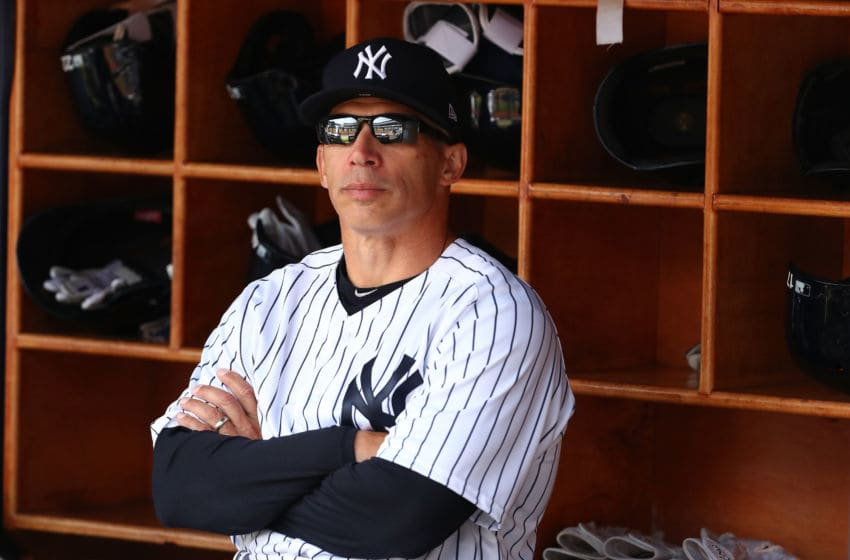 NEW YORK, NY - APRIL 10: Manager Joe Girardi #28 of the New York Yankees looks on before the game against the Tampa Bay Rays during the New York Yankees home Opening game at Yankee Stadium on April 10, 2017 in New York City. (Photo by Al Bello/Getty Images)