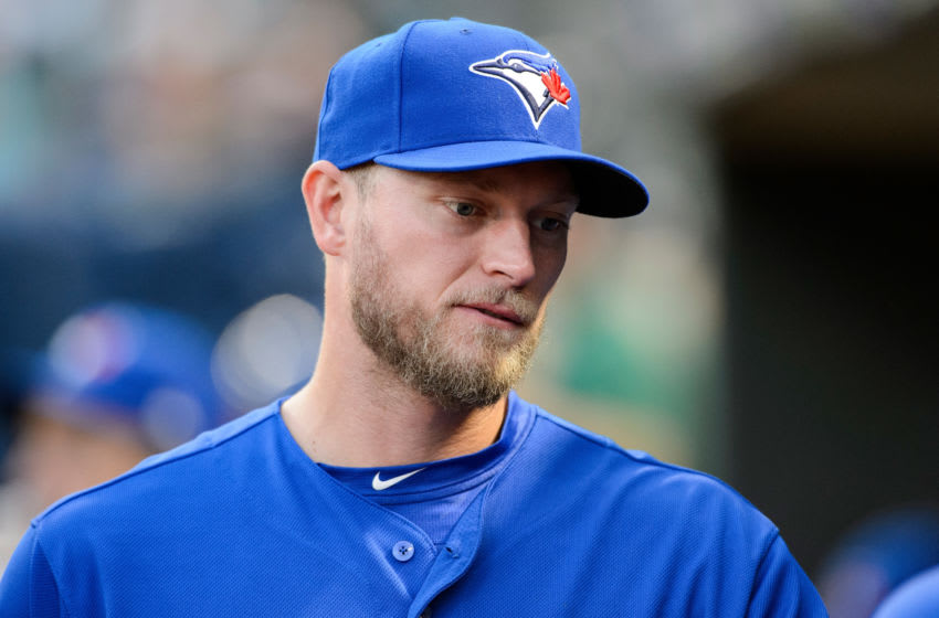 MINNEAPOLIS, MN - SEPTEMBER 15: Michael Saunders #21 of the Toronto Blue Jays looks on before the game =M- on September 15, 2017 at Target Field in Minneapolis, Minnesota. The Blue Jays defeated the Twins 4-3. (Photo by Hannah Foslien/Getty Images)