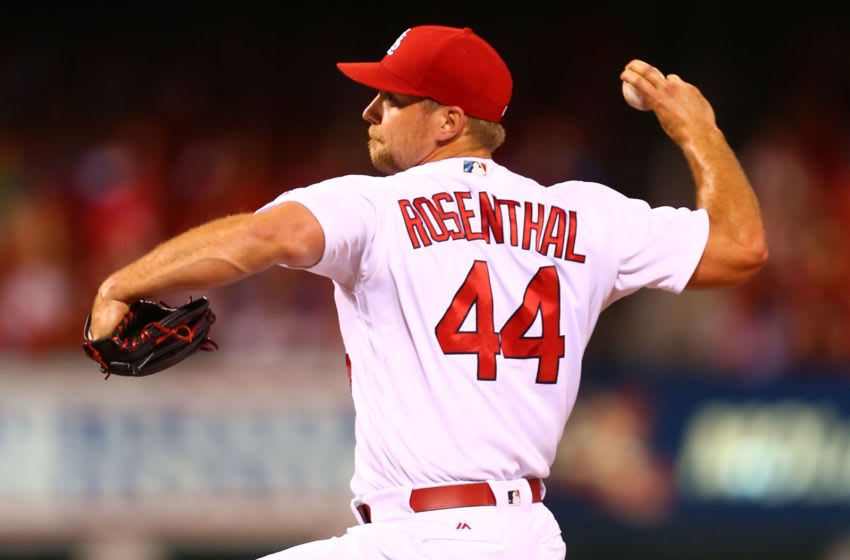 ST. LOUIS, MO - JUNE 15: Closer Trevor Rosenthal #44 of the St. Louis Cardinals pitches against the Houston Astros in the ninth inning at Busch Stadium on June 15, 2016 in St. Louis, Missouri. (Photo by Dilip Vishwanat/Getty Images)