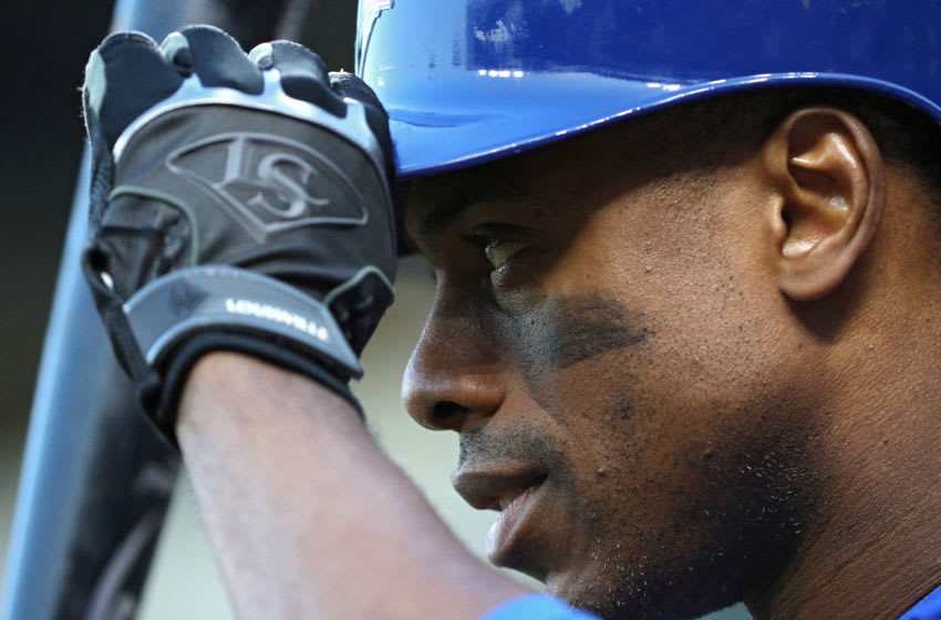 BALTIMORE, MD - APRIL 11: Curtis Granderson #18 of the Toronto Blue Jays looks on against the Baltimore Orioles during the first inning at Oriole Park at Camden Yards on April 11, 2018 in Baltimore, Maryland. (Photo by Patrick Smith/Getty Images)