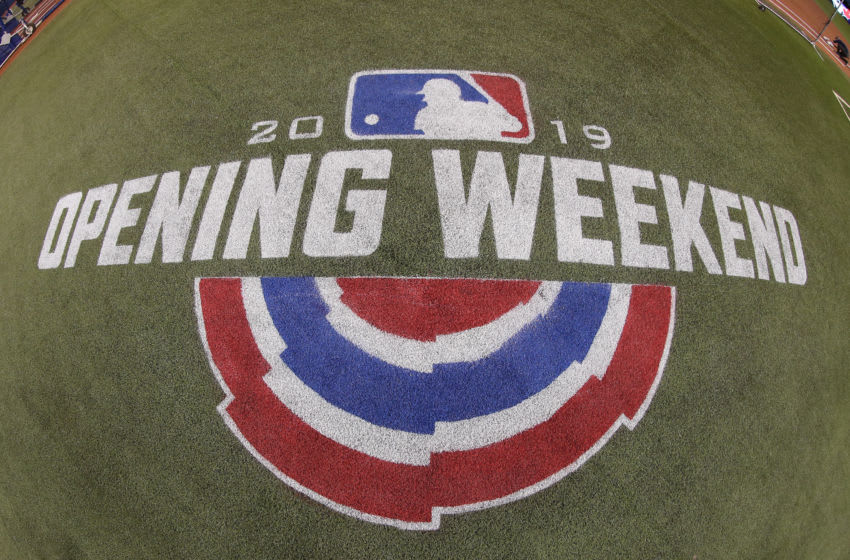 TORONTO, ON - MARCH 28: A decal on the turf marks the Opening Day weekend of the 2019 MLB season before the start of the game between the Toronto Blue Jays and the Detroit Tigers at Rogers Centre on March 28, 2019 in Toronto, Canada. (Photo by Tom Szczerbowski/Getty Images)