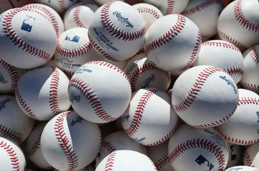 ANAHEIM, CA - MARCH 31: Baseballs are seen prior to the start of the Opening Day game between the Seattle Mariners and the Los Angeles Angels of Anaheim at Angel Stadium of Anaheim on March 31, 2014 in Anaheim, California. (Photo by Jeff Gross/Getty Images)