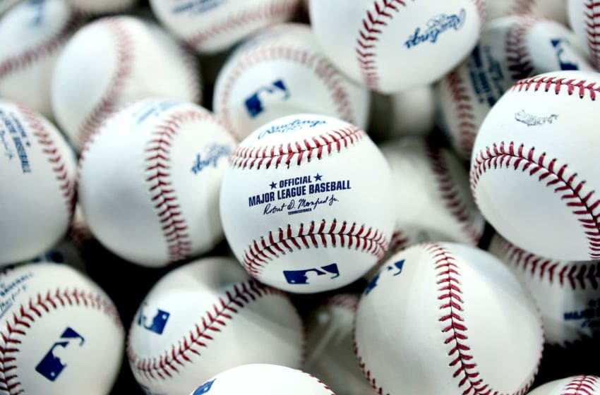TORONTO, ON - OCTOBER 19: A detailed view of practice baseballs in a basket during batting practice prior to game five of the American League Championship Series between the Toronto Blue Jays and the Cleveland Indians at Rogers Centre on October 19, 2016 in Toronto, Canada. (Photo by Vaughn Ridley/Getty Images)