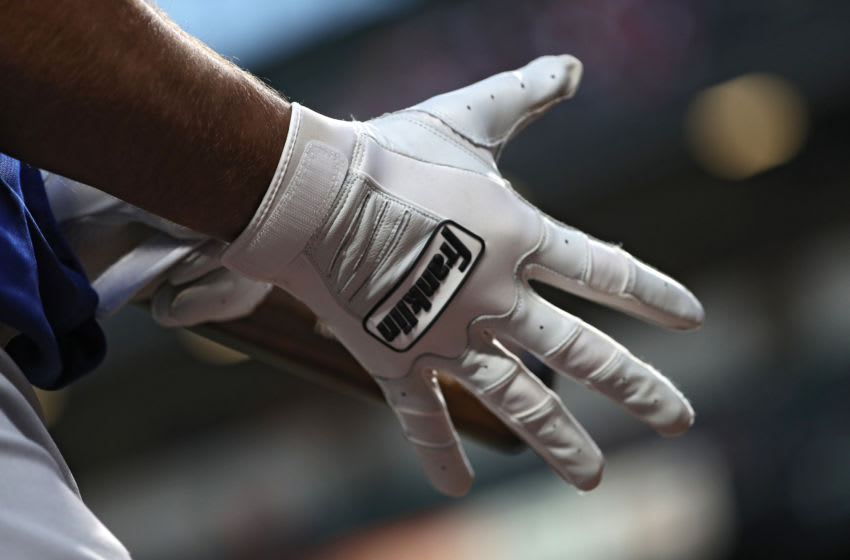 BALTIMORE, MD - APRIL 11: A detailed view of a Franklin baseball batting glove at Oriole Park at Camden Yards on April 11, 2018 in Baltimore, Maryland. (Photo by Patrick Smith/Getty Images)