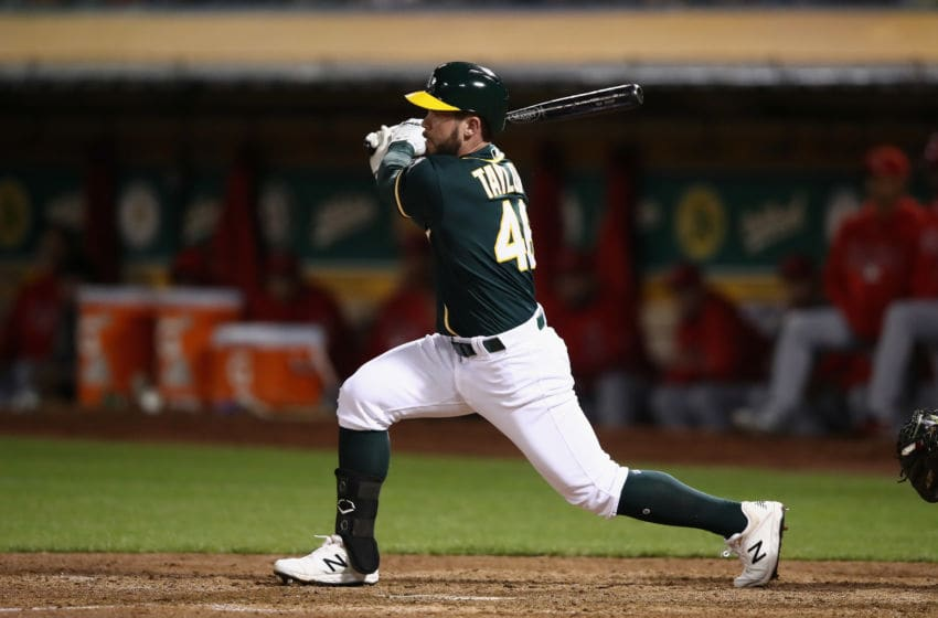 OAKLAND, CA - SEPTEMBER 19: Beau Taylor #46 of the Oakland Athletics bats against the Los Angeles Angels at Oakland Alameda Coliseum on September 19, 2018 in Oakland, California. (Photo by Ezra Shaw/Getty Images)