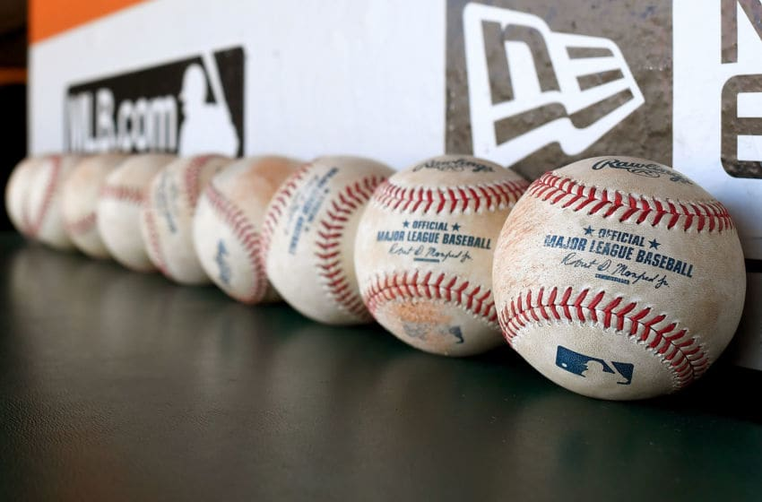 SAN FRANCISCO, CA - JULY 08: A detailed view of officials Major League Baseballs in the dugout prior to the start of the game between the Arizona Diamondbacks and San Francisco Giants at AT&T Park on July 8, 2016 in San Francisco, California. (Photo by Thearon W. Henderson/Getty Images)