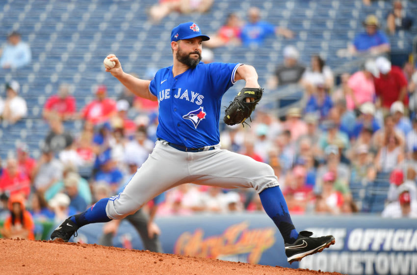 CLEARWATER, FLORIDA - MARCH 05: Tanner Roark #14 of the Toronto Blue Jays delivers a pitch during the first inning of a Grapefruit League spring training game against the Philadelphia Phillies at Spectrum Field on March 05, 2020 in Clearwater, Florida. (Photo by Julio Aguilar/Getty Images)