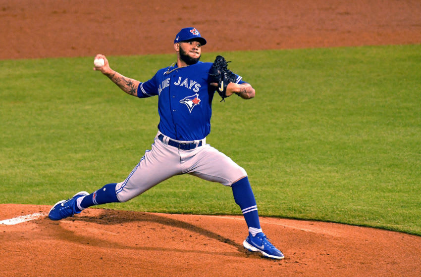 Mar 3, 2021; Tampa, Florida, USA; Toronto Blue Jays starting pitcher Simeon Woods Richardson (76) throws a pitch in the first inning against the New York Yankees during a spring training game at George M. Steinbrenner Field. Mandatory Credit: Jonathan Dyer-USA TODAY Sports