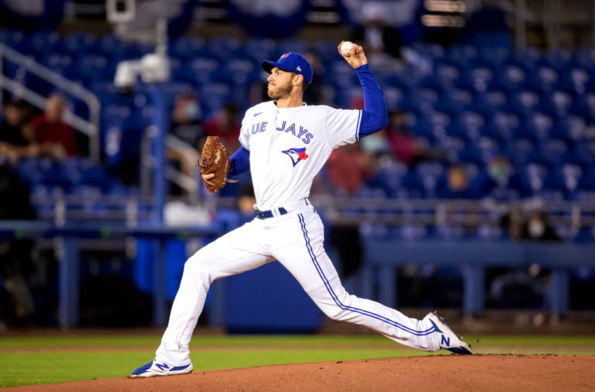 Apr 10, 2021; Dunedin, Florida, USA; Toronto Blue Jays starting pitcher Steven Matz (22) delivers a pitch against the Los Angeles Angels during the first inning at TD Ballpark. Mandatory Credit: Mary Holt-USA TODAY Sports