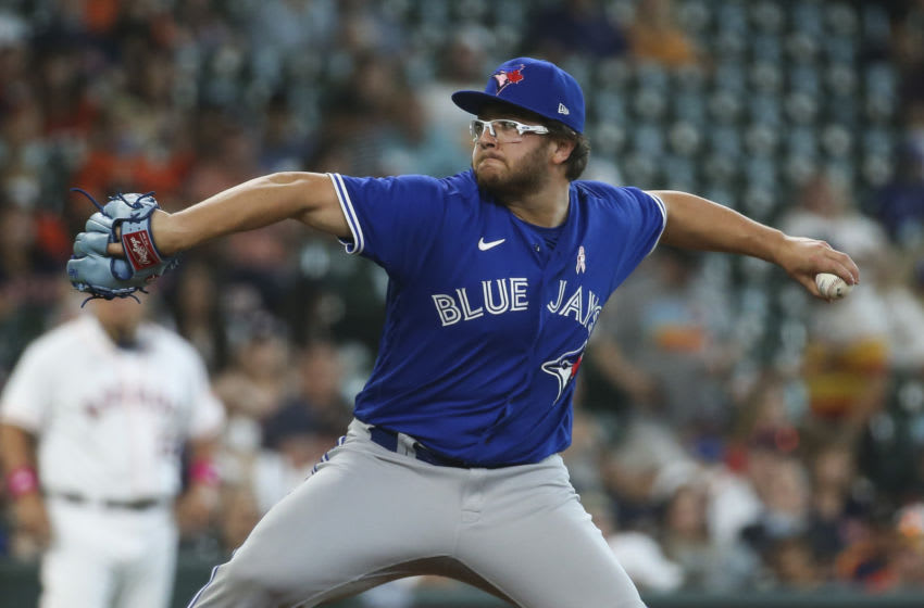 May 9, 2021; Houston, Texas, USA; Toronto Blue Jays starting pitcher Anthony Kay (47) pitches during the fifth inning against the Houston Astros at Minute Maid Park. Mandatory Credit: Troy Taormina-USA TODAY Sports