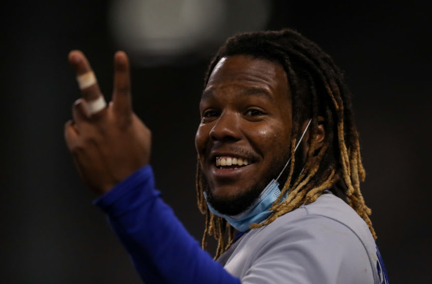 Apr 21, 2021; Boston, Massachusetts, USA; Toronto Blue Jays first baseman Vladimir Guerrero Jr (27) reacts during the ninth inning against the Boston Red Sox at Fenway Park. Mandatory Credit: Paul Rutherford-USA TODAY Sports
