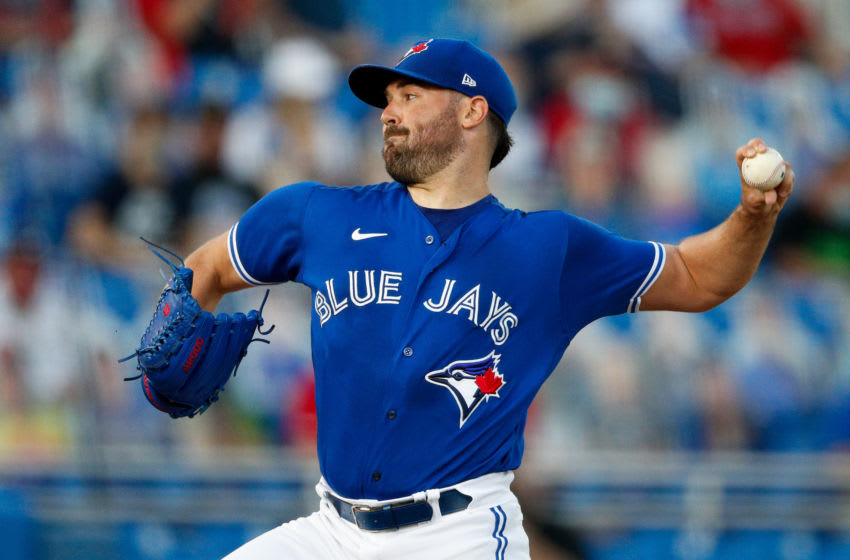 Apr 30, 2021; Dunedin, Florida, CAN; Toronto Blue Jays starting pitcher Robbie Ray (38) throws a pitch in the first inning against the Atlanta Braves at TD Ballpark. Mandatory Credit: Nathan Ray Seebeck-USA TODAY Sports