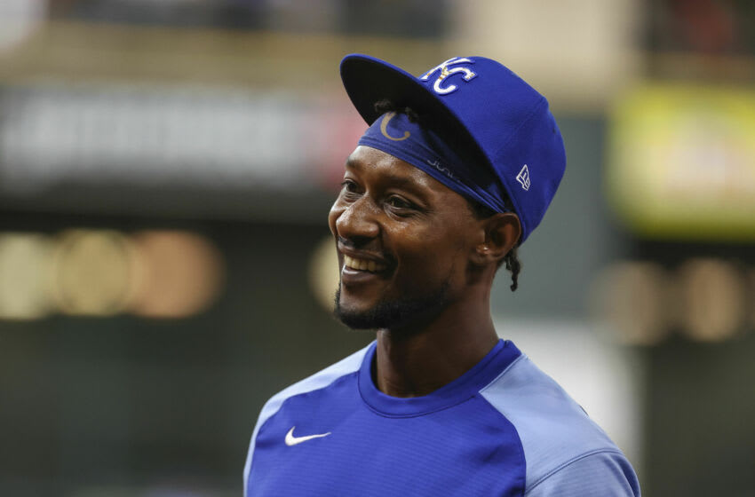 Aug 24, 2021; Houston, Texas, USA; Kansas City Royals right fielder Jarrod Dyson (1) smiles on the field before a game against the Houston Astros at Minute Maid Park. Mandatory Credit: Troy Taormina-USA TODAY Sports
