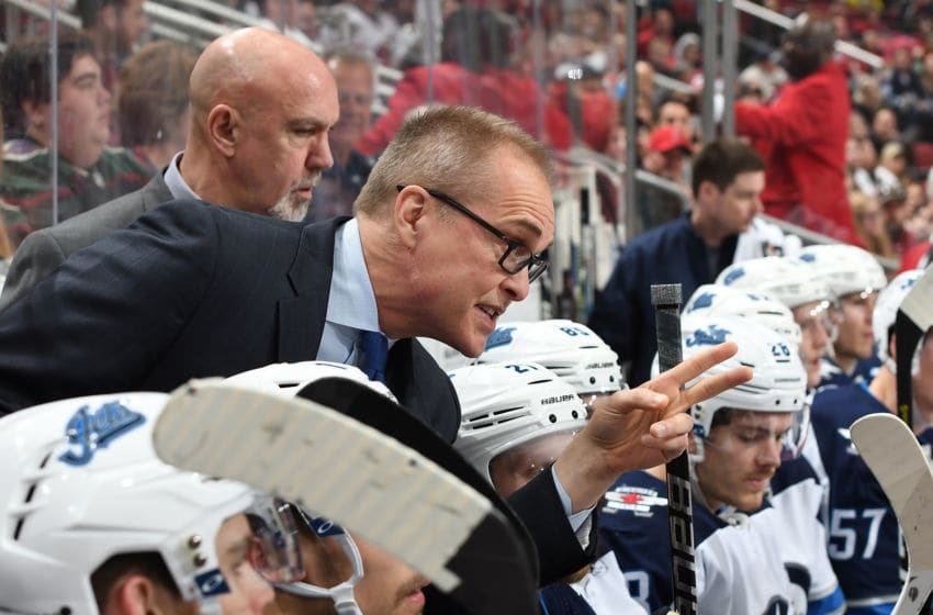 GLENDALE, AZ - FEBRUARY 24: Head coach Paul Maurice of the Winnipeg Jets talks to his players from the bench during a game against the Arizona Coyotes at Gila River Arena on February 24, 2019 in Glendale, Arizona. (Photo by Norm Hall/NHLI via Getty Images)