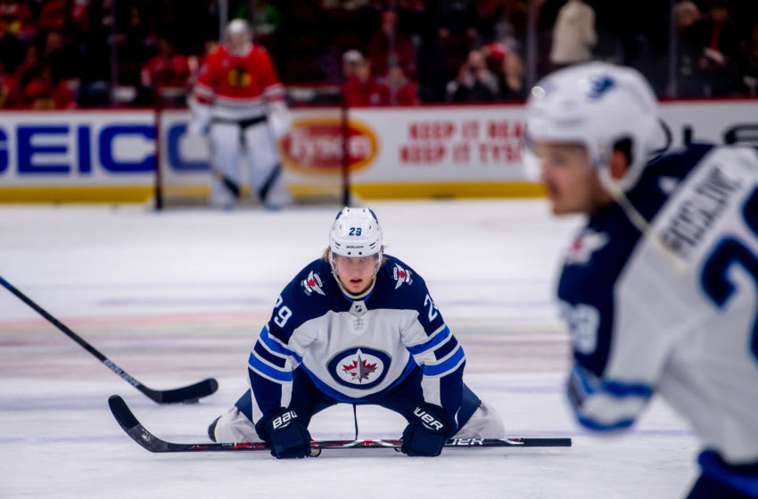 CHICAGO, IL - APRIL 01: Winnipeg Jets right wing Patrik Laine (29) warms up prior to a game against the Chicago Blackhawks on April 1, 2019, at the United Center in Chicago, IL. (Photo by Patrick Gorski/Icon Sportswire via Getty Images)