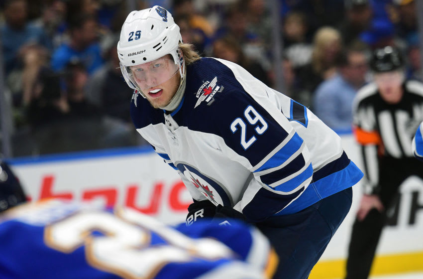 ST. LOUIS, MO - APRIL 20: Winnipeg Jets rightwing Patrik Laine (29) gets ready to take a face off during a first round Stanley Cup Playoffs game between the Winnipeg Jets and the St. Louis Blues, on April 20, 2019, at Enterprise Center, St. Louis, Mo. (Photo by Keith Gillett/Icon Sportswire via Getty Images)