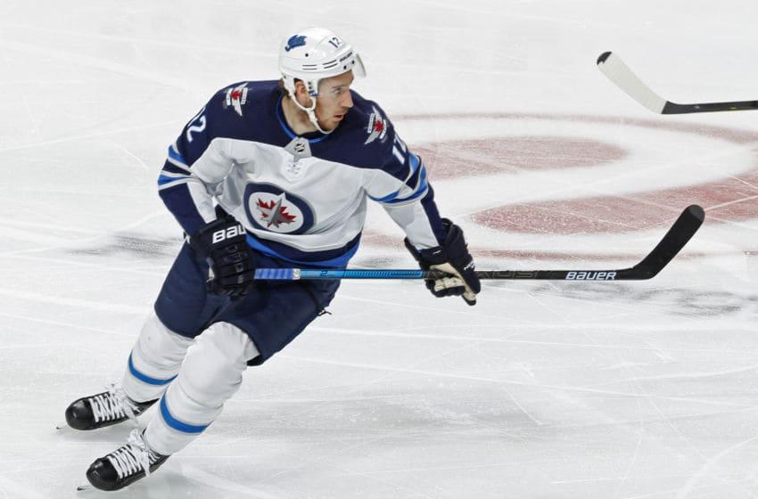 ST. PAUL, MN - APRIL 02: Kevin Hayes #12 of the Winnipeg Jets follows the play during a game with the Minnesota Wild at Xcel Energy Center on April 2, 2019 in St. Paul, Minnesota. (Photo by Bruce Kluckhohn/NHLI via Getty Images)