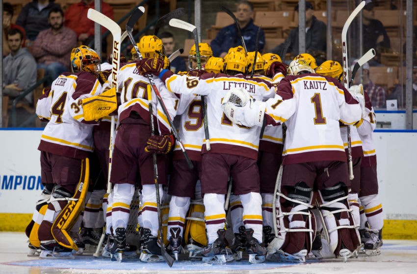 MANCHESTER, NH - MARCH 25: The Minnesota Golden Gophers huddle before a game against the Notre Dame Fighting Irish during the NCAA Division I Men's Ice Hockey Northeast Regional Championship semifinal at the SNHU Arena on March 25, 2017 in Manchester, New Hampshire. The Fighting Irish won 3-2. (Photo by Richard T Gagnon/Getty Images)