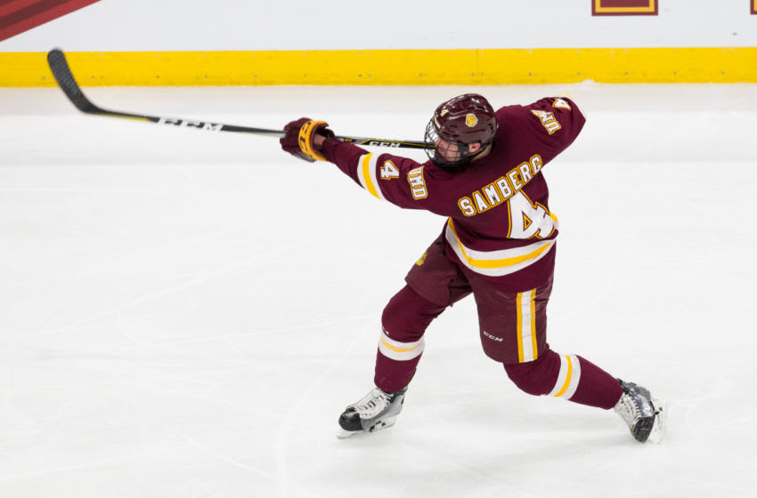 ST. PAUL, MN - APRIL 5: Dylan Samberg #4 of the Minnesota Duluth Bulldogs takes a shot against the Ohio State Buckeyes during game one of the 2018 NCAA Division I Men's Hockey Frozen Four Championship Semifinal at the Xcel Energy Center on April 5, 2018 in St. Paul, Minnesota. (Photo by Richard T Gagnon/Getty Images)