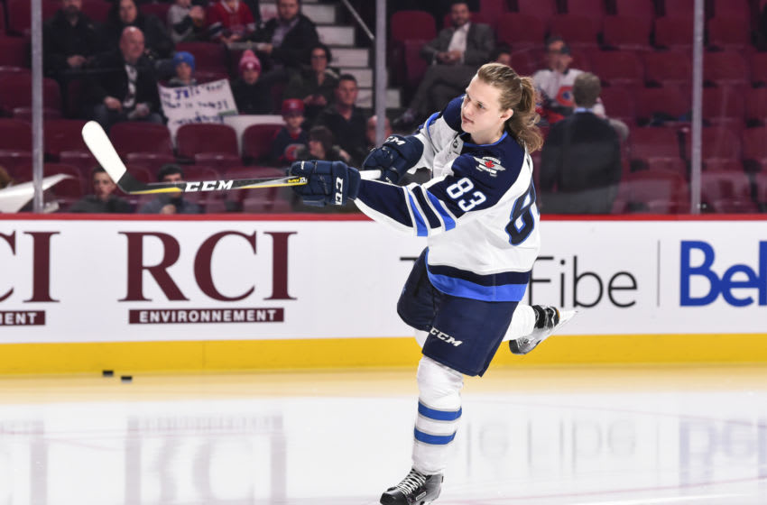 MONTREAL, QC - APRIL 03: Sami Niku #83 of the Winnipeg Jets skates during the warm-up prior to the NHL game against the Montreal Canadiens at the Bell Centre on April 3, 2018 in Montreal, Quebec, Canada. The Winnipeg Jets defeated the Montreal Canadiens 5-4 in overtime. (Photo by Minas Panagiotakis/Getty Images)