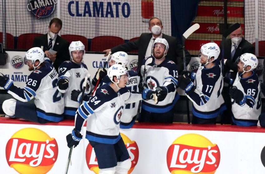 Winnipeg Jets, Logan Stanley #64, (Mandatory Credit: Jean-Yves Ahern-USA TODAY Sports)