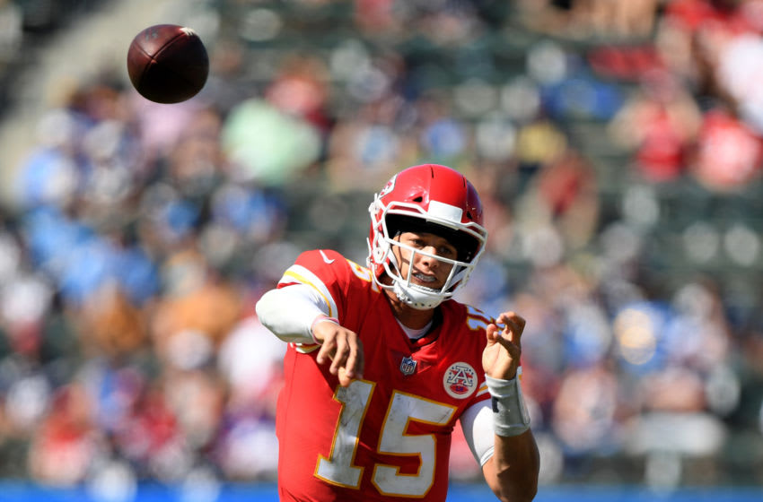 CARSON, CA - SEPTEMBER 09: Patrick Mahomes #15 of the Kansas City Chiefs passes against the Los Angeles Chargers at StubHub Center on September 9, 2018 in Carson, California. (Photo by Harry How/Getty Images)