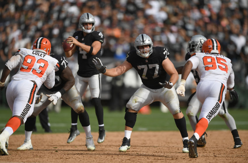 OAKLAND, CA - SEPTEMBER 30: Kolton Miller #77 of the Oakland Raiders pass protects against the Cleveland Browns during the fourth quarter of their NFL football game at Oakland-Alameda County Coliseum on September 30, 2018 in Oakland, California. (Photo by Thearon W. Henderson/Getty Images)