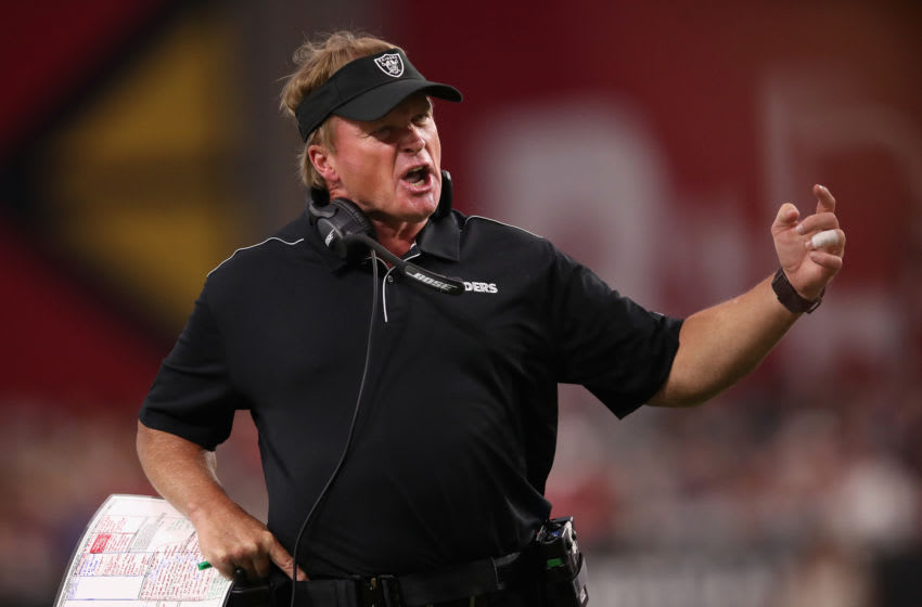 GLENDALE, ARIZONA - AUGUST 15: Head coach Jon Gruden of the Oakland Raiders reacts during the first half of the NFL preseason game against the Arizona Cardinals at State Farm Stadium on August 15, 2019 in Glendale, Arizona. (Photo by Christian Petersen/Getty Images)