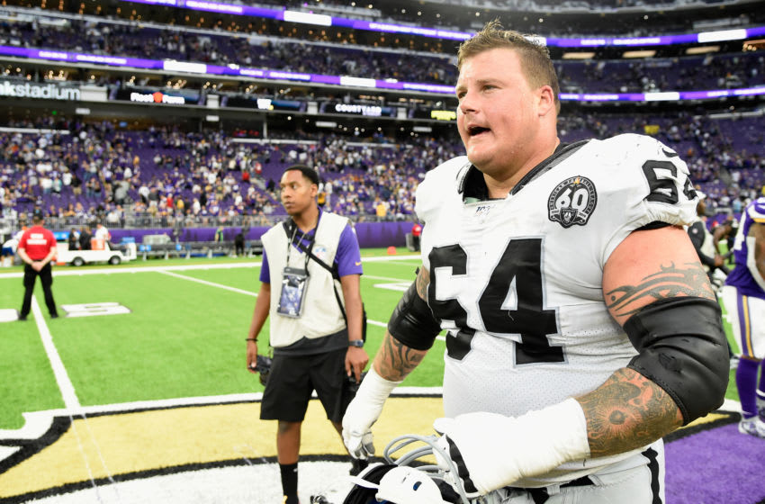 MINNEAPOLIS, MINNESOTA - SEPTEMBER 22: Richie Incognito #64 of the Oakland Raiders leves the field after a game against the Minnesota Vikings at U.S. Bank Stadium on September 22, 2019 in Minneapolis, Minnesota. The Vikings defeated the Raiders 34-14. (Photo by Hannah Foslien/Getty Images)